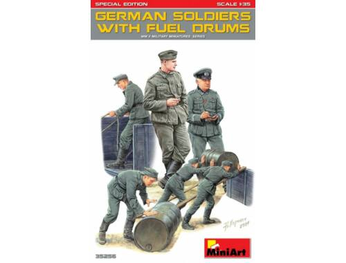 Miniart Germans Soldiers w/Fuel Drums. Special Edition 1:35 (35256)