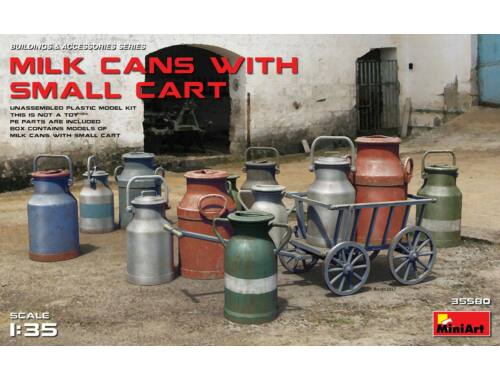 Miniart Milk Cans with Small Cart 1:35 (35580)
