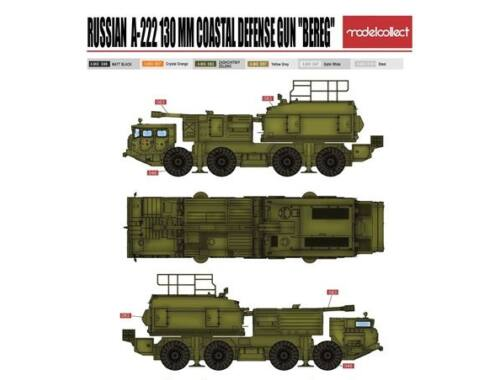 Modelcollect Russian 130mm coastal defense gun A-222 bereg pre-painted Kit 1:72 (PP72001)