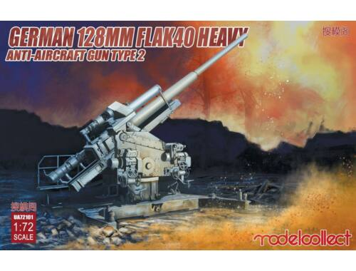 Modelcollect German 128mm Flak40 heavy Anti-Aircraft Gun Type 2 1:72 (UA72101)