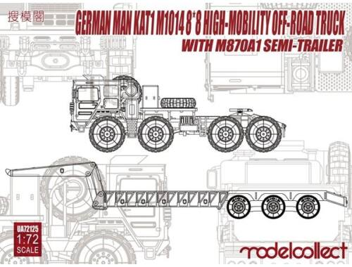 Modelcollect German MAN KAT1M1014 8*8 HIGH-Mobility off-road truck w.M870A1 semi-trailer 1:72 (UA721
