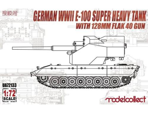 Modelcollect German WWII E-100 super heavy Tank with 128mm flak 40 zwilling gun 1:72 (UA72133)
