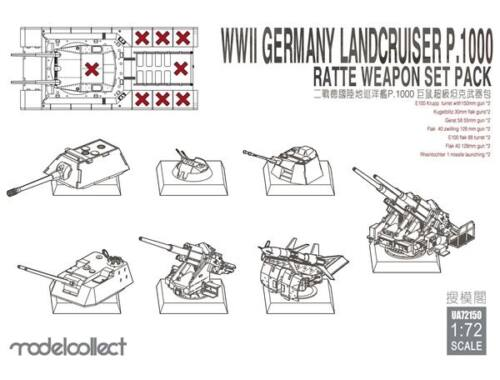 Modelcollect WWII Germany landcruiser p.1000 ratte weapon set pack 1:72 (UA72150)
