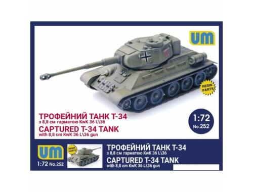 Unimodel T-34 captured tank with 8,8 cm KwK 36L/36 gun 1:72 (252)