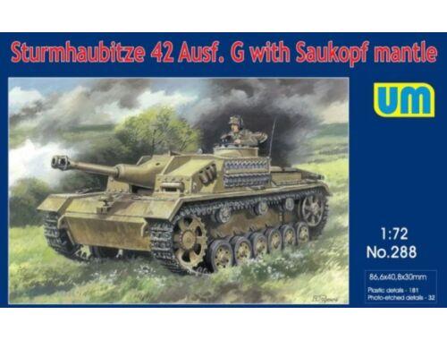 Unimodel Sturmhaubitze 42 Auf.G w. Saukopf mantle 1:72 (288)