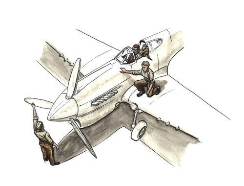 CMK RAF Pilot Sitting in Cockpit w/Monkey on Shoulder 2 Mechanics,Western Desert 1:72 (F72344)