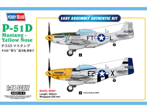 Hobby Boss P-51D Mustang-Yellow Nose 1:48 (85808)