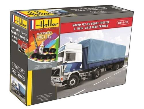 Heller Model Set Volvo F12-20 Twin-Axle Semi Trailer 1:32 (57703)