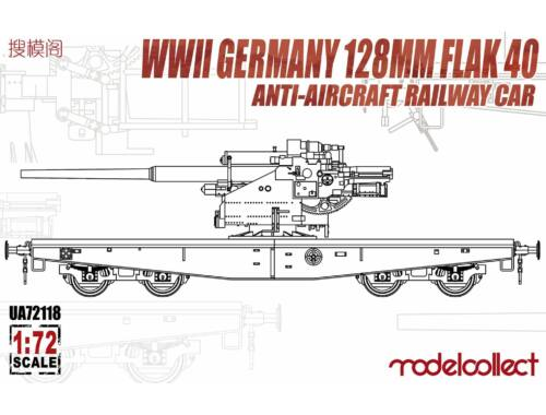 Modelcollect WWII Germany 128mm Flak 40 Anti-Aircraft Railway Car 1:72 (UA72118)