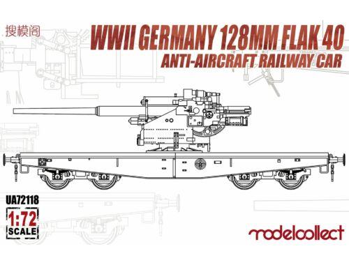 Modelcollect WWII Germany 128mm Flak 40 Anti-Aircraft Railway Car 1:72 (UA72118)