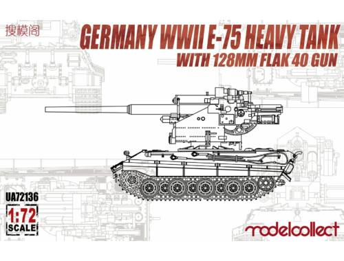 Modelcollect German WWII E-75 Heavy Tank with 128mm flak 40 gun 1:72 (UA72136)