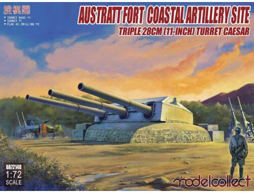 Modelcollect Austratt fort coastal artillery site triple 28cm turret Caesar(2*flak 40 zwilling 1:72