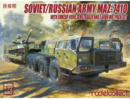 Modelcollect MAZ-7410 with ChMZAP 9990 Semi-Trailer a.T-80BV mbt pack set 1:72 (UA72153)