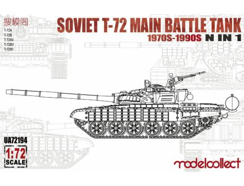 Modelcollect Soviet T-72 Main battle Tank,1970s-1990s N in 1 1:72 (UA72194)