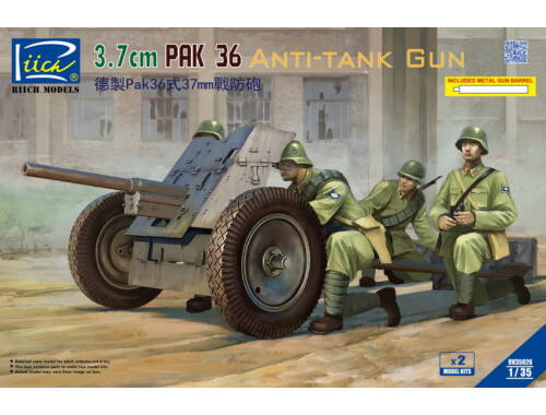 Riich German 3.7cm Pak 36 Anti-Tank Gun(model kitsx2)w/Metal gun barrel 1:35 (RV35026)