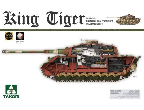 Takom WWII German Heavy Tank Sd.KFZ.182 King Tiger Henschel Turret w/Zimmerit 1:35 (2045S)