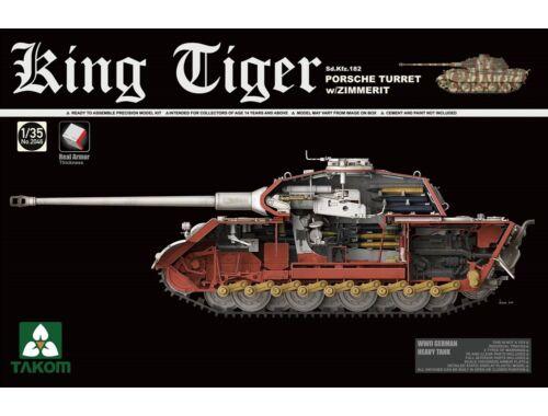 Takom WWII German Heavy Tank Sd.Kfz.182 King Tiger Porsche Turret w/Zimmerit 1:35 (2046S)