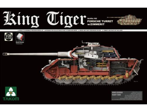 Takom WWII German Heavy Tank Sd.Kfz.182 King Tiger Porsche Turret w/Zimmerit 1:35 (2046S)