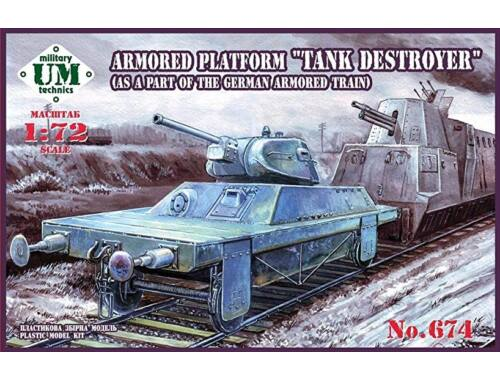 """Unimodels Armored Platform """"Tank Destroyer"""" (as a part of the german armored train) 1:72 (T674)"""