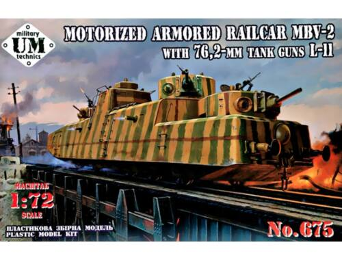Unimodels MBV-2 Motorized armored Railcar with 76,2-mm Tank guns L-11 1:72 (T675)