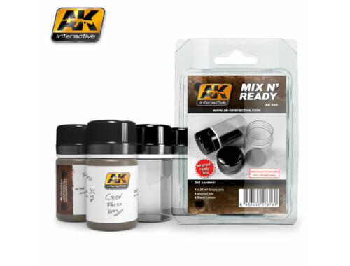 AK Mix N Ready ( 4 Empty Jars Whith Labels) AK616