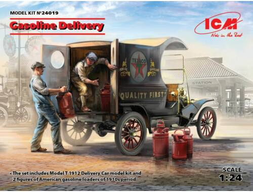 ICM Gasoline Delivery, Model T 1912 Delivery Car w. Loaders 1:24 (24019)