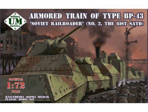 Unimodels Armored train of type BP-43Soviet rail- roader (the 61st. SATD) 1:72 (UMT678)