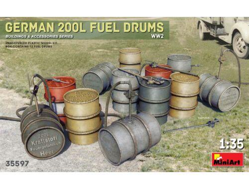 MiniArt German 200L Fuel Drum Set WW2 1:35 (35597)