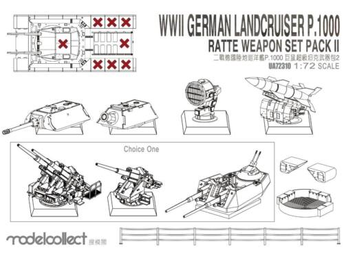Modelcollect WWII Germany Landcruiser p.1000 ratte weapon set pack II 1:72 (UA72310)