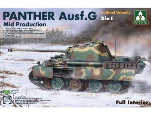 Takom WWII German Tank Panther Ausf.G Mid w/Steel Wheels 2in1 1:35 (2120)