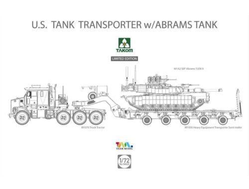 Takom U.S. M1070 M1000 70 Ton Tank Transporter w/Abrams TANK 1:72 (5002X)