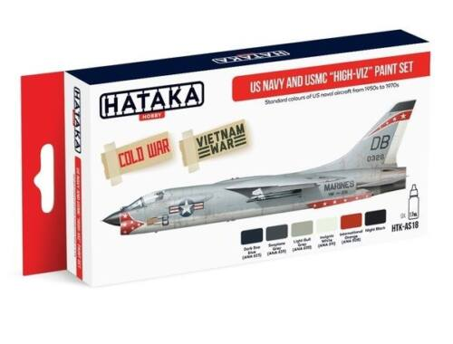 HATAKA Red Line Set (6 pcs) US Navy and USMC high-viz paint set HTK-AS18