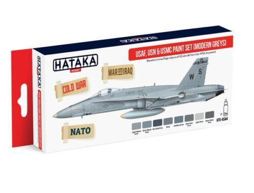HATAKA Red Line Set (8 pcs) USAF, USN   USMC paint set (modern greys) HTK-AS44