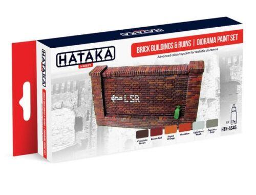 HATAKA Red Line Set (6 pcs) Brick buildings   ruins diorama paint set HTK-AS45