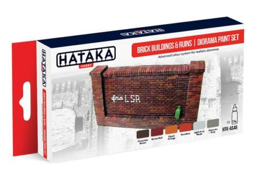 HATAKA Red Line Set (6 pcs) Brick buildings   ruins diorama paint set HTK-AS45