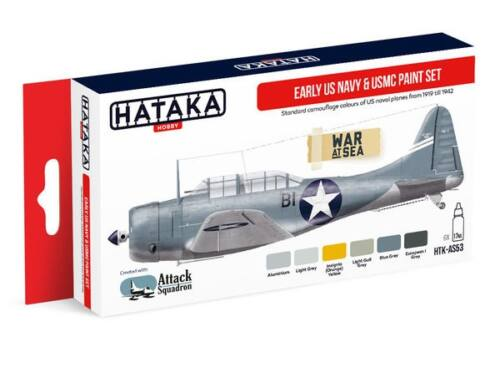 HATAKA Red Line Set (6 pcs) Early US Navy   USMC paint set HTK-AS53
