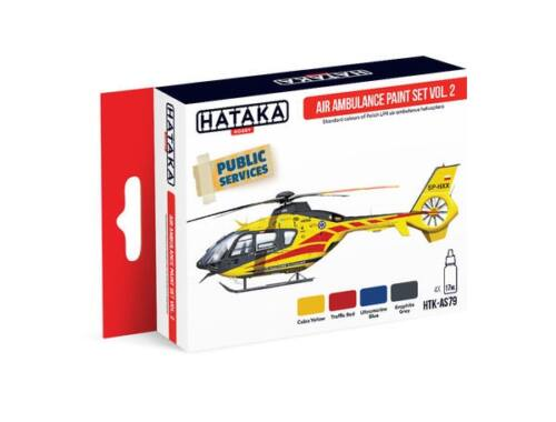 HATAKA Red Line Set (4 pcs) Air Ambulance (HEMS) paint set vol. 2 HTK-AS79