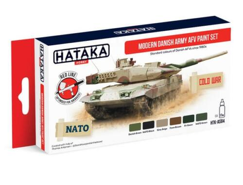 HATAKA Red Line Set (6 pcs) Modern Danish Army AFV paint set HTK-AS84