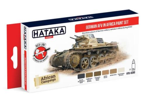 HATAKA Red Line Set (6 pcs) German AFV in Africa paint set HTK-AS90