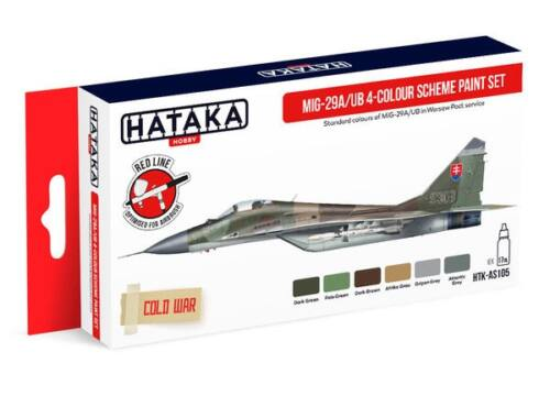 HATAKA Red Line Set (6 pcs) MiG-29A/UB 4-colour scheme paint set HTK-AS105