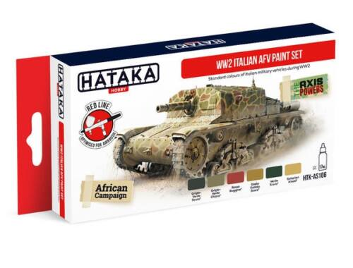 HATAKA Red Line Set (6 pcs) WW2 Italian AFV paint set HTK-AS106