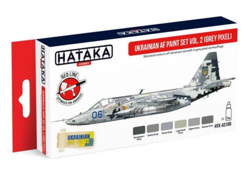 HATAKA Red Line Set (6 pcs) Ukrainian AF paint set vol. 2 (Grey Pixel) HTK-AS109