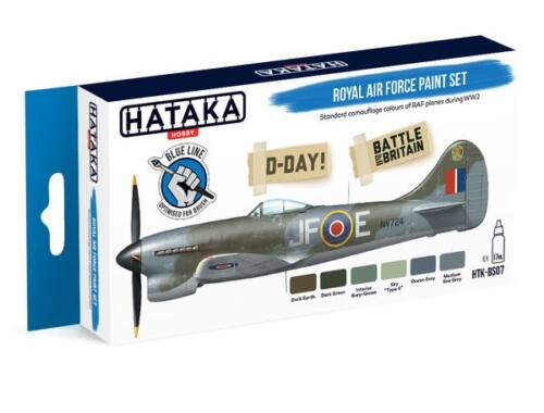 HATAKA Blue Line Set (6 pcs) Royal Air Force paint set HTK-BS07