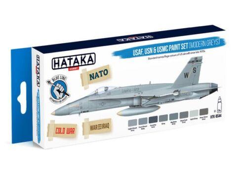 HATAKA Blue Line Set (8 pcs) USAF, USN   USMC paint set (modern greys) HTK-BS44