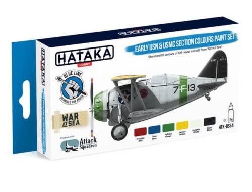 HATAKA Blue Line Set (6 pcs) Early USN   USMC Section Colours paint set HTK-BS54