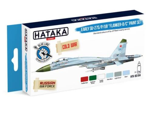 HATAKA Blue Line Set (6 pcs) Early Su-27S/P/UB Flanker-B/C paint set HTK-BS104