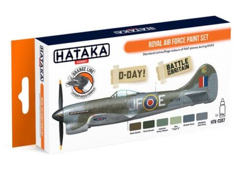 HATAKA Orange Line Set(6 pcs) Royal Air Force paint set HTK-CS07
