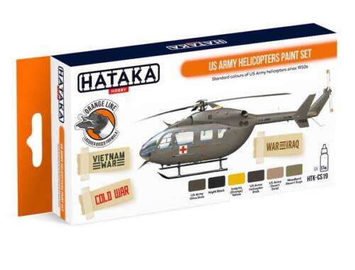 HATAKA Orange Line Set(6 pcs) US Army Helicopters Paint Set HTK-CS19