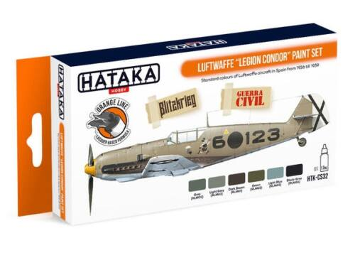 HATAKA Orange Line Set(6 pcs) Luftwaffe Legion Condor paint set HTK-CS32