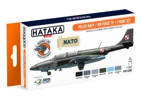 HATAKA Orange Line Set(6 pcs) Polish Navy / Air Force TS-11 paint set HTK-CS46
